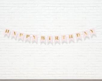 Blush & Gold Happy Birthday Banner - Customizable Bunting Banner