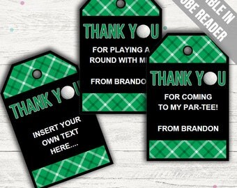Golf Favor Tags (Golf Thank You Tags). Printable PDF (EDITABLE). Instant Download.