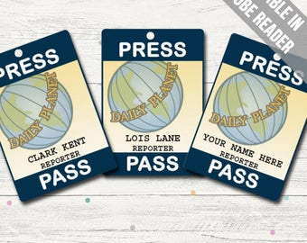 Daily Planet Press Pass. Lois Lane/ Clark Kent Costume. Superhero Party Printable (editable PDF)