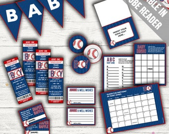 Baseball Baby Shower. Baby Boy. Includes Editable Baby Shower Invitations, Decorations and Games. Editable. Printable.