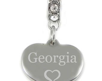 Personalised Engraved Name Charm Fits Charm Bracelets Stainless Steel