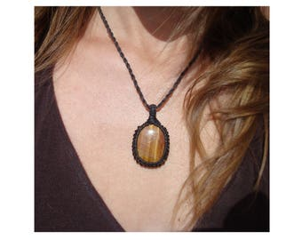 Tiger Eye Necklace/Solar Power/Pendant/Solar Plexus/Fertility/Creativity/Macrame Jewelry/Tigers Eye Jewelry