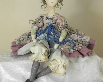 Artist doll, Handmade Doll, Rag Doll, Textile Doll, Art Doll - blue - old lace - rag doll, Ooak, JUDITH, hand made art doll