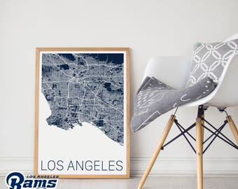 Los Angeles Rams / Los Angeles Rams Poster / LA Rams Poster / LA Rams Print / Los Angeles Map /LA Rams Memorabilia / Los Angeles /Rams