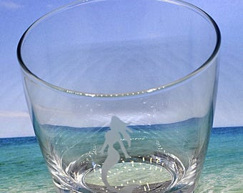 Etched Glass, Mermaid Glass, Beach Lovers Gift, Beach Gift, Personalized Gift For Her, Mermaid Gift