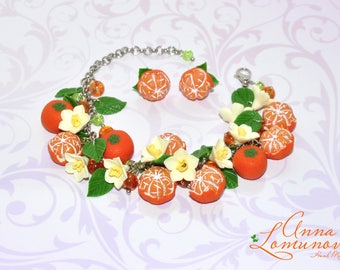 Mandarin jewelry Winter Sister Gift Winter jewelry bracelet Tangerine bracelet Mandarin bracelet Winter Charm Bracelet Orange Bracelet gift