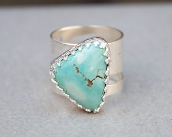 Turquoise silver ring, Artisan wide band ring with geninue Tibetian Turquoise stone, Gemstone ring, Handmade silver ring, Unique,SIZE 7.5 US