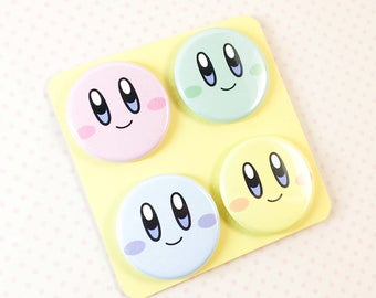 Cute Kirby Pinback Button Set includes 4