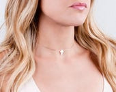Rose Gold Cross Choker Necklace, Opal Cross Necklace, Minimal Cross Choker, Silver, Gold Filled, Blue Opal Necklace, White, Christian Gift