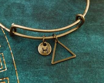Triangle Bracelet Bronze Triangle Bangle Geometric Jewelry Geometric Bracelet Charm Bracelet Pendant Bracelet Personalized Initial Bracelet