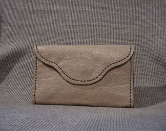 Light Gray Leather Clutch Purse Pocketbook.