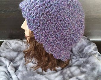 Soft Purple Crochet Beanie Hat with Scalloped Edge (size Large)