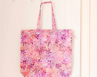 Tote bag/sac en tissu de Bali // Mauve et saumon // Modèle Kiwon