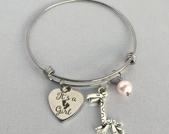 Baby Girl Bracelet, It's a Girl Charm Bangle, New Baby Gift, Baby Announcement Jewelry, Gender Reveal, FAM012