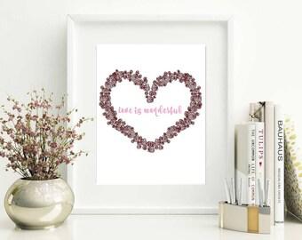 Love is Wonderful 8x10 Digital Print Valentine's Day Wreath