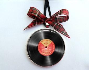 Vinyl Vintage Record Ornament, 2 inch LP record album Ornament, DJ Ornament, Music gift for DJ Singer