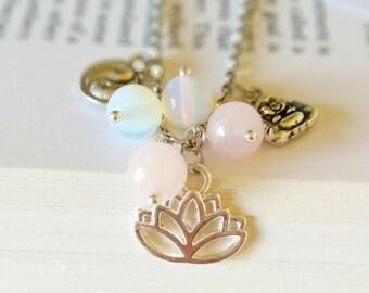 Buddhist Crystal Charm Necklace - buddhist jewellery, opalite necklace, pink jade necklace, charm jewellery, gemstone necklace