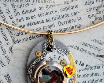 "Steampunk concrete necklace, gold, stones, watch face ""Remnants"""
