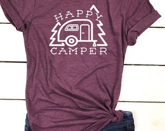 Happy Camper Shirt - Happy Camper tshirt - Happy Camper print - Camping Shirt - Camper - Happy Camper - Mountains are Calling - Wife Gift