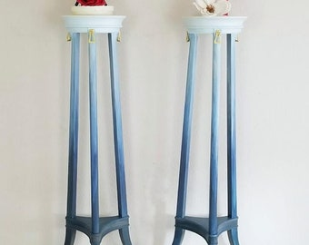 Set of 2 Plant Stands / Candle Holders / Painted Ombre - Blended