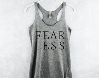 Workout Tank Top - Fitness Tank Top - Yoga Shirt - Gym Shirt - Workout Shirt - Tank Top with Sayings - Fearless Grey Tank Top