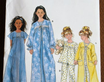 Simplicity 8488 UNCUT Sewing Pattern Girls Pajamas Nightgown Robe Long Sleeve Pants Ruffled Yoked Short Flutter Sleeve Toddler 3 4 5 6