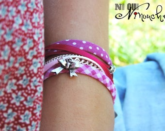 """""""Bracelet double ribbons pink polka dot and Plaid fuschia bow""""Pinky""""silver chain heart"""""""