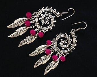 Silver statement earrings, fuschia earrings, spiral earrings, boho earrings, leaf earrings, gypsy earrings, statement earrings, silver long