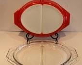Red Divided Pyrex Dish - ...