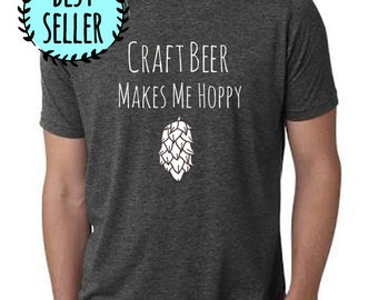 Craft Beer Makes Me Hoppy Mens Tshirt, Beer Lover, Men's Graphic T-Shirt, Charcoal Gray, Shirts with Sayings
