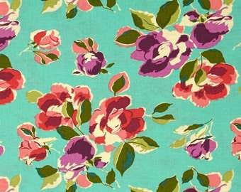 Amy Butler Bright Heart Natural Beauty in Teal; 1/2 yard; cotton woven fabric