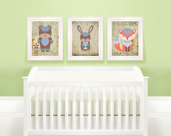 Boho Animal Set | Three Animal Set, Tribal Nursery, Tribal Baby Room, Nursery Bundle, Animal Art Bundle, Woodland Bundle, Animal Art Bundle
