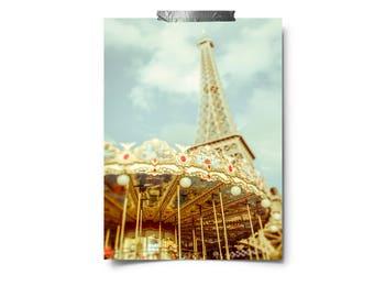 Carnival Photography, Merry Go Round, Pastel Art, Carousel Photo, Summer Decor, Nursery Decor, kids wall art, eiffel tower paris print