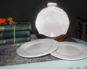 Vintage Farberware Chesapeake pattern all-white stoneware salad | dessert plate.  All white with embossed scrolls, scalloped edge.