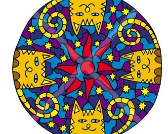 Set of coloring pages for children and adults. Collection of funny cats. Coloring with felt-tip pens, pencils, gel pens. Anti-stress. Book