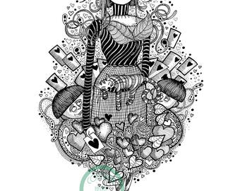 Alice from Alice in Wonderland art decor print from original drawing illustration av in A4 & A3 twins fine liner ink detailed patterned