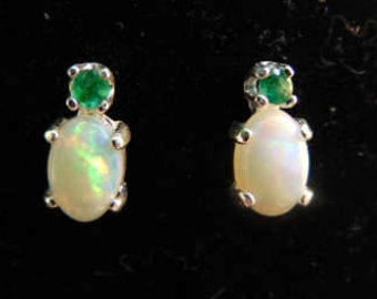 natural opal emerald accented white fire opal studs simple elegant fresh small solid opal earrings australian opal genuine white opal 14k