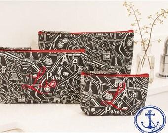 Paris Cosmetic Bags, Paris Makeup Bags, Monogrammed Cosmetic Bag,Monogrammed makeup bag, Set of Three Cosmetic Bags - CB01