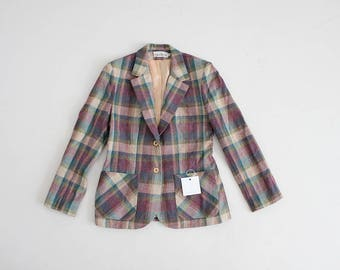 dusty plaid blazer | 70s plaid jacket | plaid wool blazer