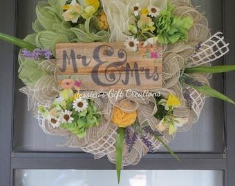Made to Order Mr and Mrs Mesh Wreath/Front Door Wreath/Wedding Gift/Anniversary Gift/Bridal Shower Wreath/Summer Decor/Burlap/Housewarming