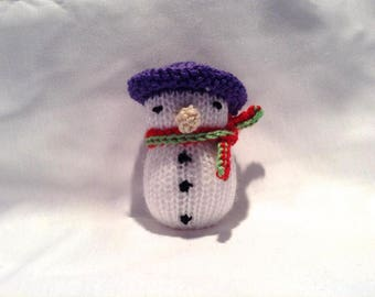 Hand Knitted Toy / Snowman / Stocking Stuffer / Filler / Christmas Decoration / Gifts under 10