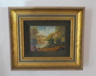 Antique Master Painter Original Oil Painting on Wood Panel Gold Gilded Frame Country Landscape