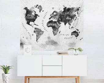 World Map Wall Hanging | World Map Tapestry | World Map Wall Decor | World Map Art | Map Tapestry | Map Wall Decor | Map Wall Art
