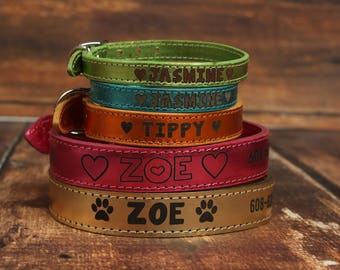 Custom Leather Dog Collar - Personalized Leather Dog Collar - Color Leather Dog Collar - Metallic Leather Dog Collar - Engraved Dog Collar