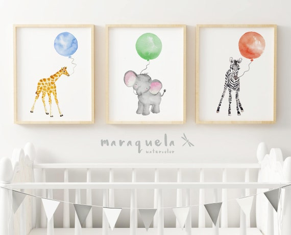 ANIMALS with Balloons Set for baby. Set 3 watercolor for kids and babies.Giraffe, zebra and elephant