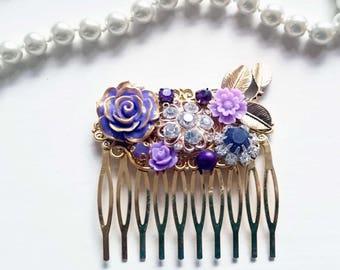 Purple Hair Comb rhinestone hair comb vintage hair comb bridal hair comb dark purple comb violet comb indigo hair comb fiance gift bridesmai