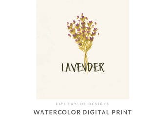 Lavender Digital Watercolor Print