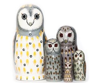 Owl Nesting dolls - Matryoshka - Russian nesting doll - Babushka doll - Stacking dolls - Hand Painted Nesting dolls Ship from California