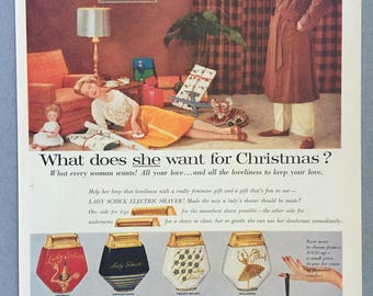 """1957 Lady Schick Electric Shaver Print Ad - """"What does she want for Christmas?"""""""