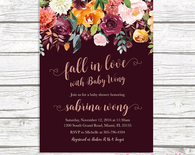 Rustic Fall Baby Shower Invitation, Fall in Love Baby Shower Invitation, Gender Neutral Baby Shower Invite, Burgundy Marsala Baby Shower